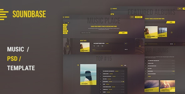 Soundbase PSD Template - Entertainment Photoshop