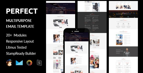 Perfect - Multipurpose Responsive Email Template + Online Stampready Builder Access - Email Templates Marketing