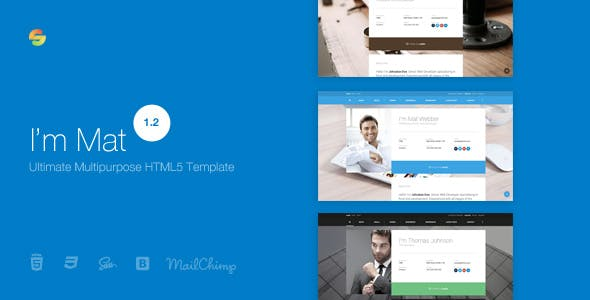I'm Mat - Material Personal Resume / CV vCard Template