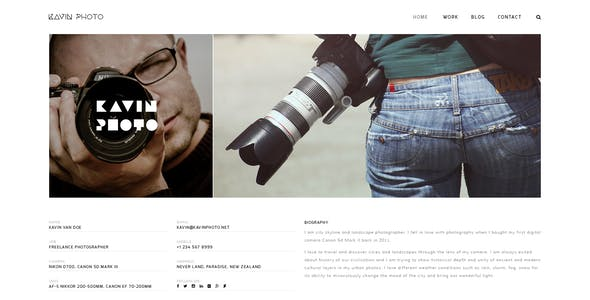 Kavin - Photography Blog Joomla Template