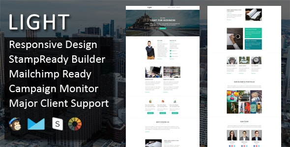 LIGHT - Multipurpose Responsive Email Template + Stampready Online Builder Access - Email Templates Marketing