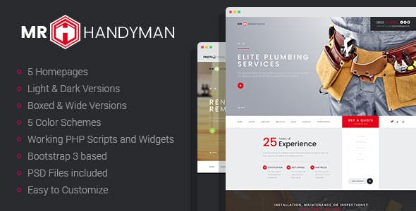 Mr.Handyman - Plumber & Roofing HTML template