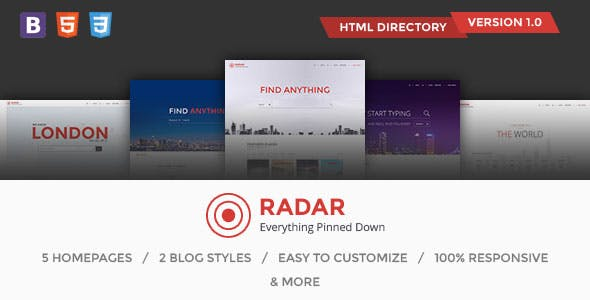 Radar - Multipurpose and Real Estate Directory Template