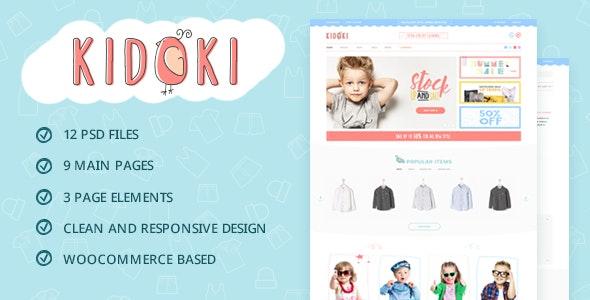 Kidoki - eCommerce Kid Fashion Store PSD Template - Children Retail