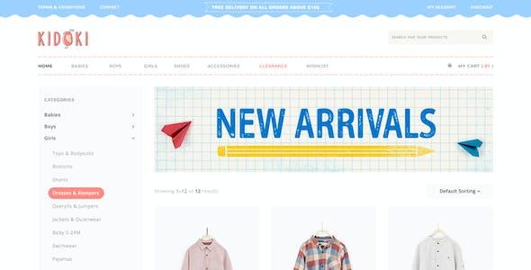 Kidoki - eCommerce Kid Fashion Store PSD Template