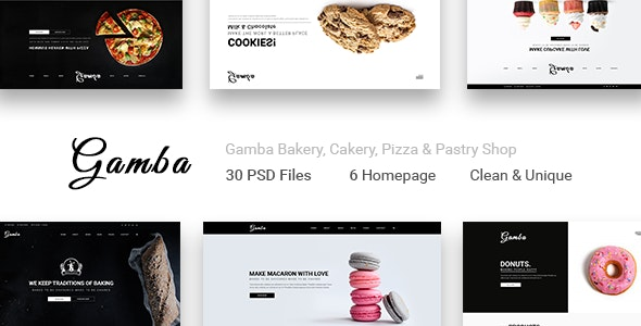 Gamba Bakery, Cakery, Pizza & Pastry Shop PSD Template - PSD Templates