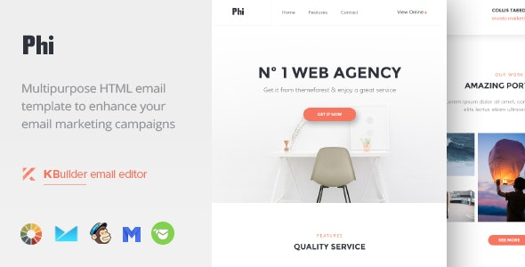 Phi - Responsive Email Template + Builder - Newsletters Email Templates
