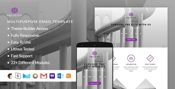 Felicity – Responsive HTML Email + StampReady, MailChimp & CampaignMonitor compatible files - Email Templates Marketing