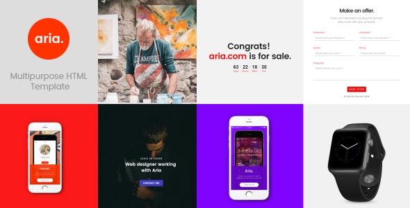 Aria Minimal One page Creative Template - Creative Site Templates