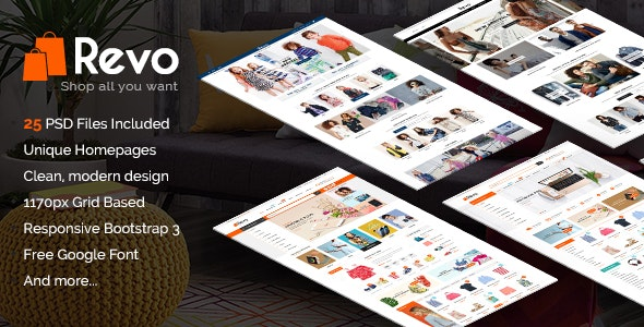 Revo - Modern Multipurpose PSD eCommerce Template - Retail Photoshop