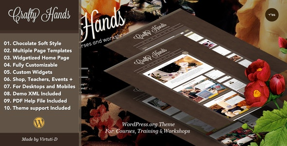 Crafty Hands–Courses, Training, Workshops WP Theme - Education WordPress