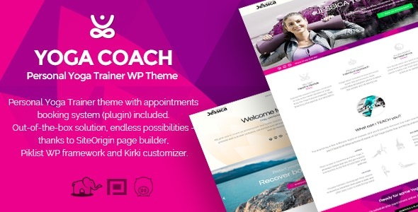 Yoga Coach - personal trainer WP theme (with booking system) - Health & Beauty Retail