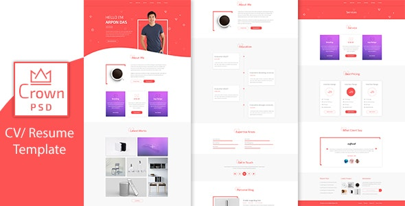 Crown Multipage Personal CV/Resume PSD Template - Portfolio Creative