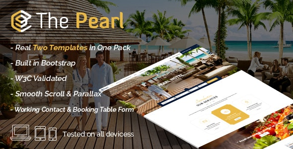 Pearl - Hotel & Restaurant Template - Retail Site Templates