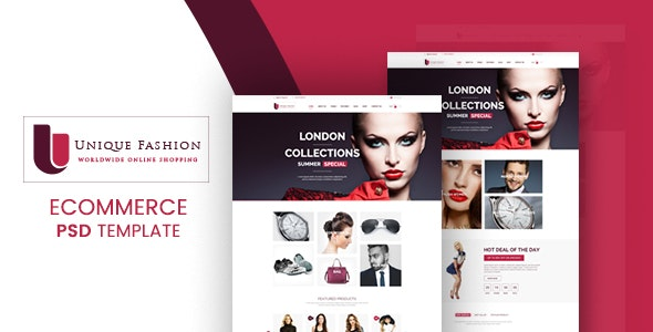 Unique Fashion - Ecommerce PSD Template - Shopping Retail
