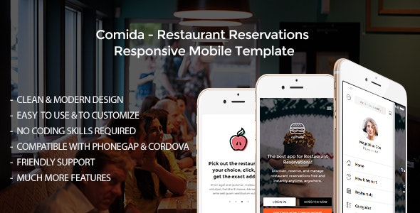 Comida - Restaurant Reservations Responsive Mobile Template - Mobile Site Templates