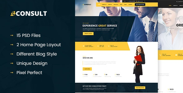 CONSULT - Consultant Business PSD Template - Corporate Photoshop