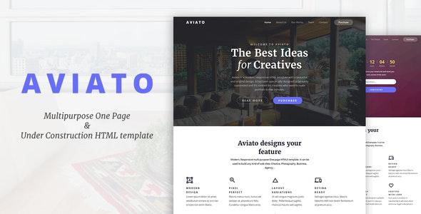 Aviato - Multipurpose One Page & Coming Soon HTML template - Portfolio Creative