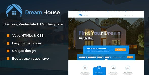 Dream House   Real estate HTML template