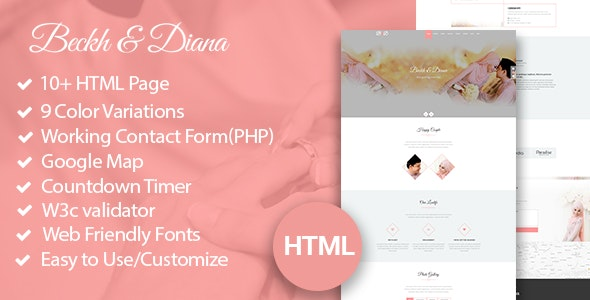 B&D - HTML5 Responsive Wedding Template - Wedding Site Templates