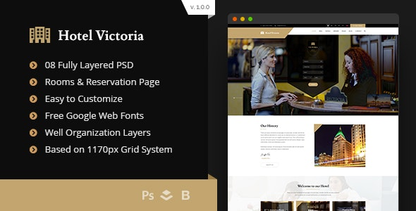 Hotel Victoria - Hotel & Resort Bootstrap PSD Template - Travel Retail