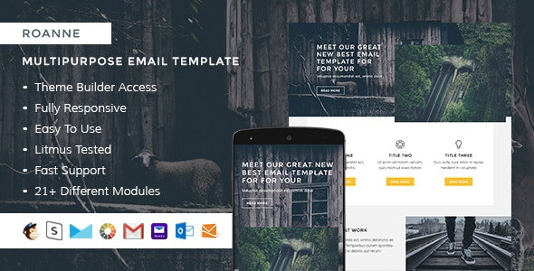 Roanne – Responsive HTML Email + StampReady, MailChimp & CampaignMonitor compatible files - Email Templates Marketing