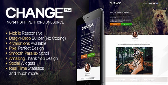 Change - Petitions Responsive Unbounce Template - Unbounce Landing Pages Marketing