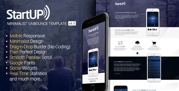 Startup - Minimalist Responsive Unbounce Template - Unbounce Landing Pages Marketing