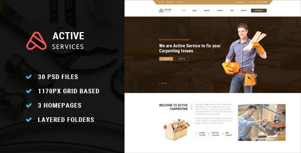 Active Service PSD Template - Photoshop UI Templates