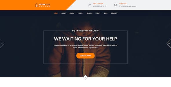 Homeless Childs - Charity Psd Template