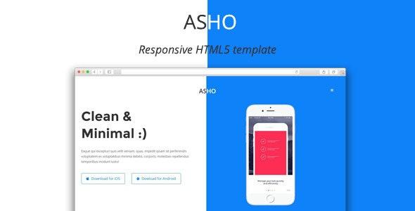 ASHO - Responsive App Landing Page - Marketing Corporate