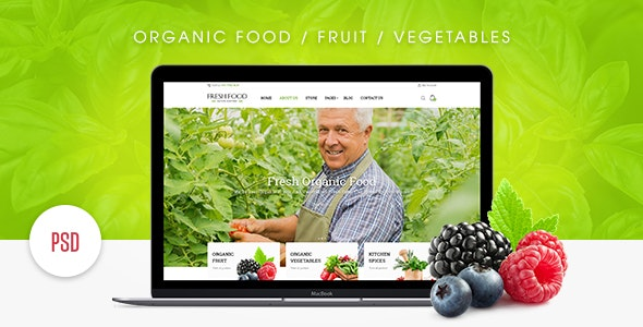 Fresh Food – Organic Food/Fruit/Vegetables eCommerce PSD Template - Retail PSD Templates
