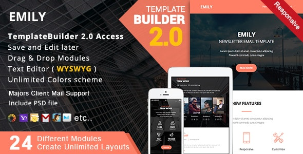 Emily - Responsive Email + MailBuild Online - Newsletters Email Templates