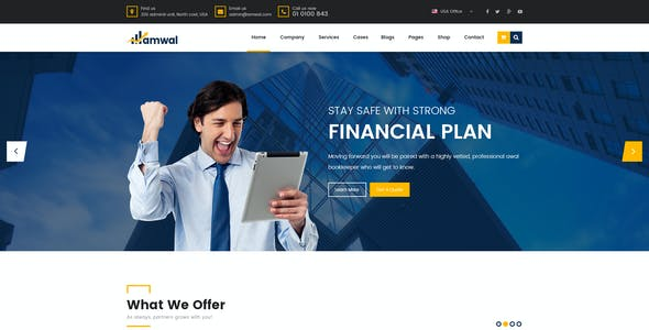 Amwal - Finance, Business & Consulting PSD Template