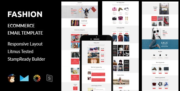 Fashion - Ecommerce Responsive Email Template + Stampready Builder - Email Templates Marketing
