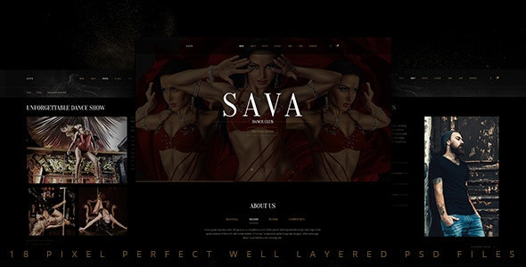 Sava — Dance school   Dance club PSD Template - Nightlife Entertainment
