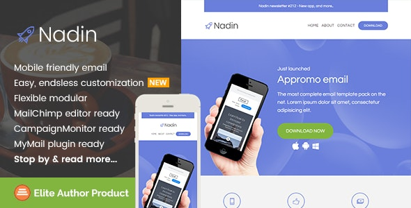 Nadin, App Promo Email Template + Builder Access - Newsletters Email Templates