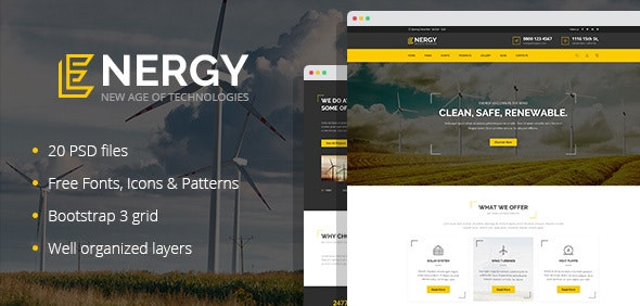 Energon - renewable energy and eco friendly technologies PSD template - Business Corporate