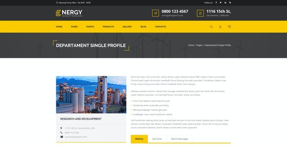 Energon - renewable energy and eco friendly technologies PSD template