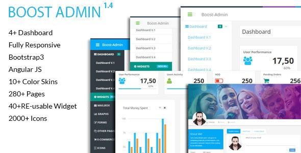 Boost - Responsive + Angular JS Admin Web App Kit - Admin Templates Site Templates