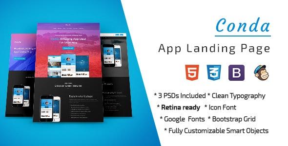 Conda App Landing Page PSD Template - PSD Templates