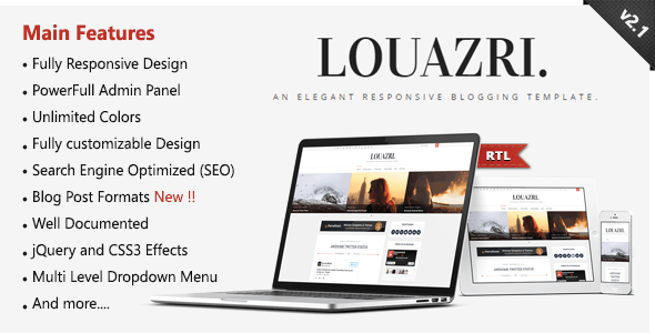 Louazri - An Elegant Responsive Blogging Template - Blogger Blogging