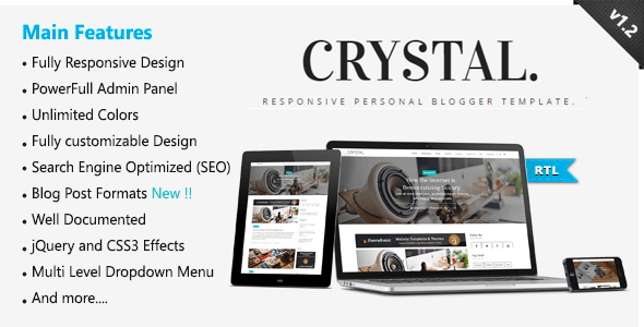 Crystal - Responsive Personal Blogger Template