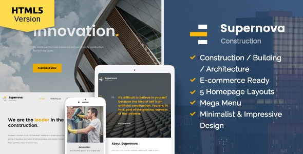Supernova - Construction website template - Corporate Site Templates