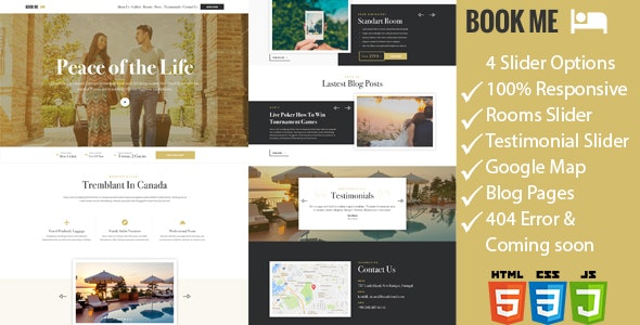 Book Me - One Page Hotel / Resort HTML Template - Travel Retail