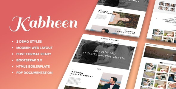 KABHEEN - Modern Wedding Web Template - Wedding Site Templates