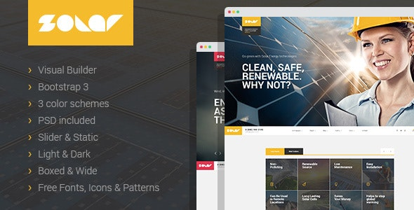 Solar - Renewable Energy Sinlge&Multipage HTML Template with Builder - Technology Site Templates