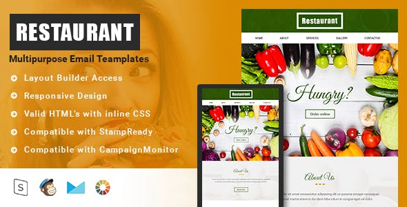 Restaurant-Responsive Email Template + Stampready builder