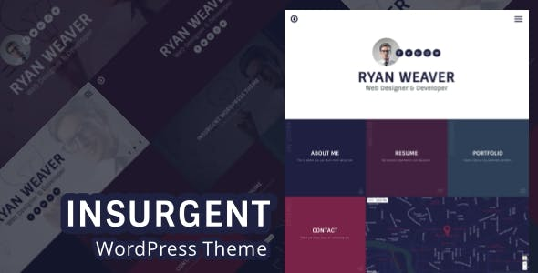 Insurgent - Personal Vcard Resume Portfolio WordPress Theme