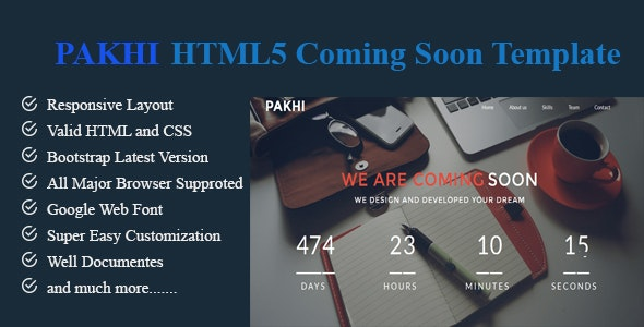 PAKHI-HTML5 Coming Soon Template - Under Construction Specialty Pages